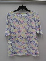 Charter Club Cotton Floral-Print Boat-Neck White Combo XL