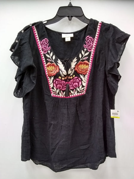 Style Co Embroidered Butterfly-Sleeve Top Traveler Black M