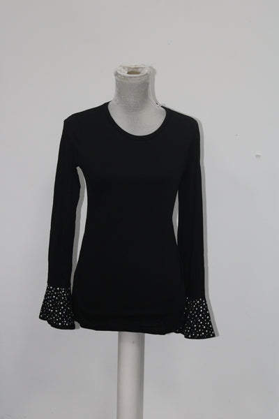 Michael Kors Embellished Bell-Sleeve Top Black M