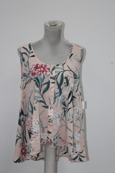 Style Co Printed Sleeveless Blouse Painted Garden L