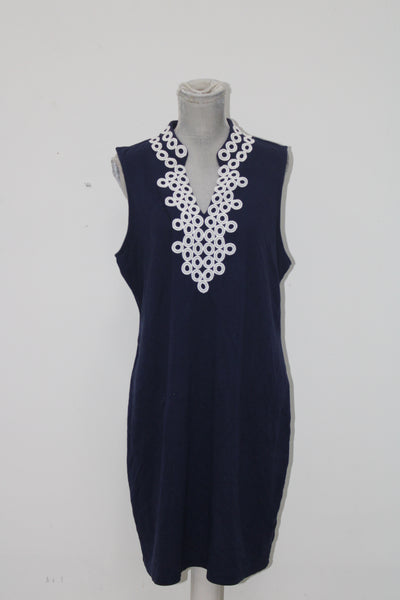 Charter Club Crochet-Trim Sheath Dress Intrepid Blue XL