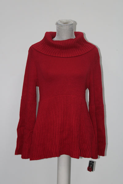 Style & Co. Womens Petites Turtleneck Ribbed Knit Pullover Sweater Red PL