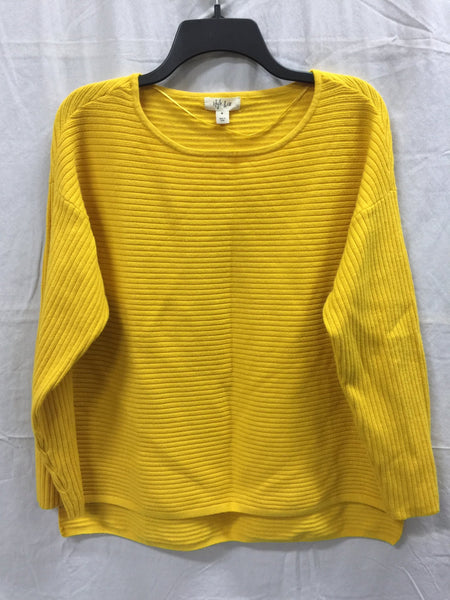 Style & Co Sweater Boatneck Rib Pullover Yellow M