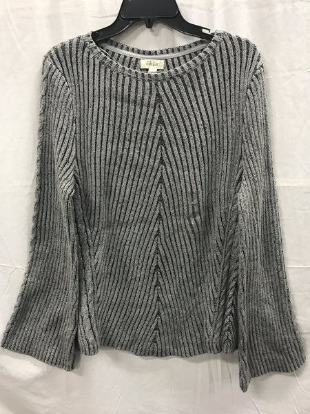 STYLE & CO Sweater Pleated Direct Rib Pullover Med Gray M