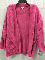 Style & Co Sweater Chenille Openfront Cardigan Pink S