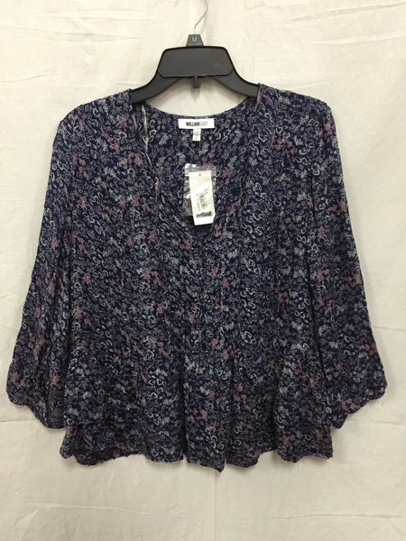 WILLIAM RAST Beaded Peplum Peasant Top Dark Clemantis L