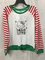 HELLO KITTY LS HOLIDAY SLEEP SHIRT RED/GREEN COMBO XL