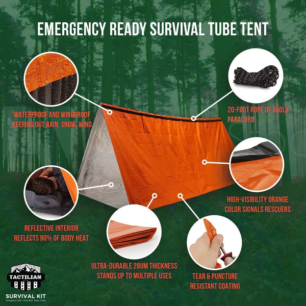 Tactilian's Outdoor Emergency Kit (Tube Tent, Fire Starter, Tinder, Etc.)