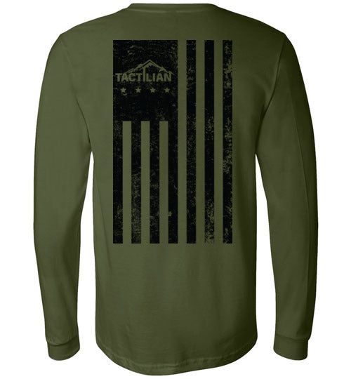 Long Sleeve Distressed American Flag T-Shirt