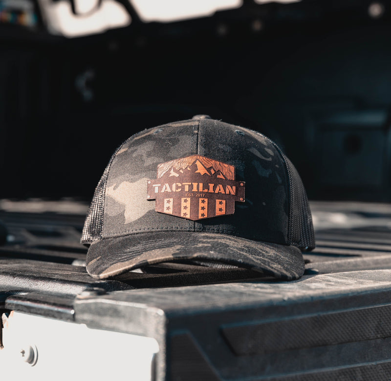 Tactilian Black Multicam Leather Patch Snap Back Hat
