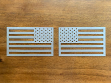 Two Pack - Large American Flag Magnets - Metallic Gray  (One Vehicle Set)