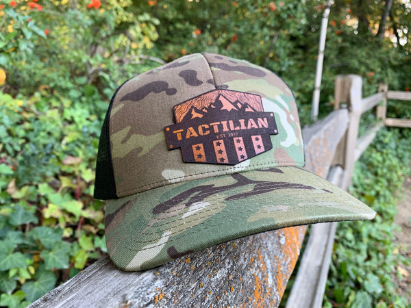 Tactilian Woodland Camo Leather Patch Snap Back Hat