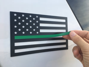 First responder / military color inserts for American flag magnet (Thin blue line, green, red)