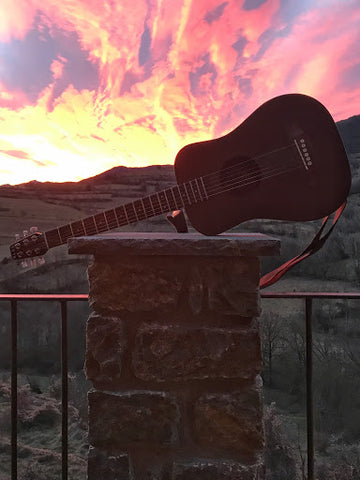 The sunset on this adventure was especially beautiful with my travel guitar!