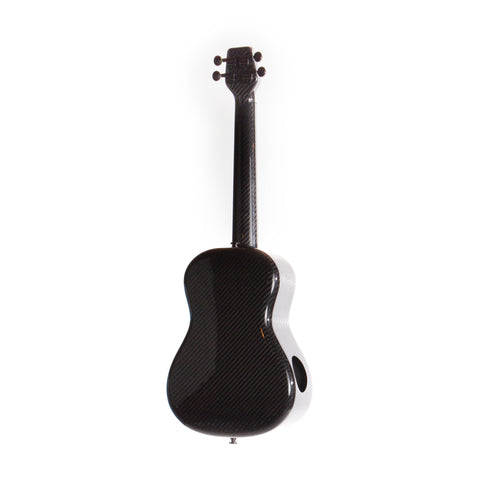 Image showing the back of a black KLOS carbon fiber ukulele. The ukulele has a second soundhole in the bottom lobe of the body.