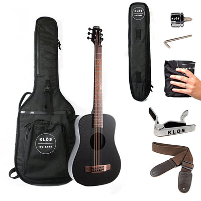 KLOS Deluxe Acoustic Electric Travel Guitar - B Stock