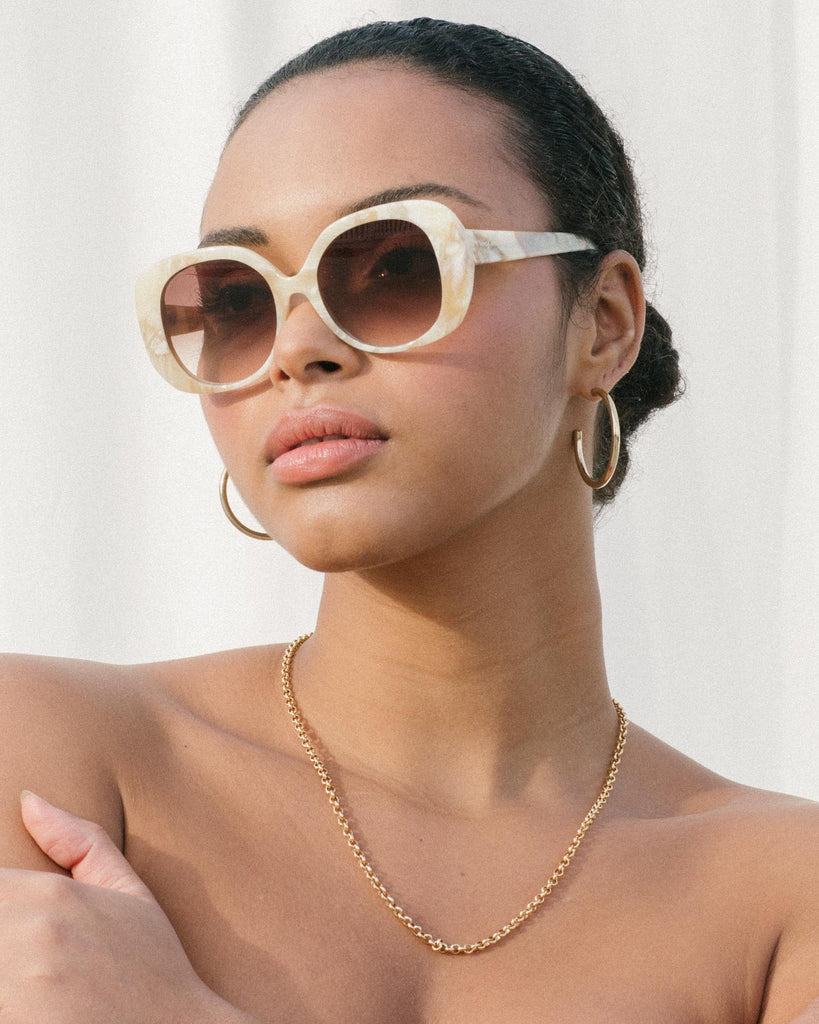 Velvet Canyon Sunglasses eyewear vintage 1940s 50s 1960s 60s 1970s 70s 80s 90s inspired sunnies cat eye modern Lunettes de Soleil lenses The Rendezvous oversize round square marble cream white beige