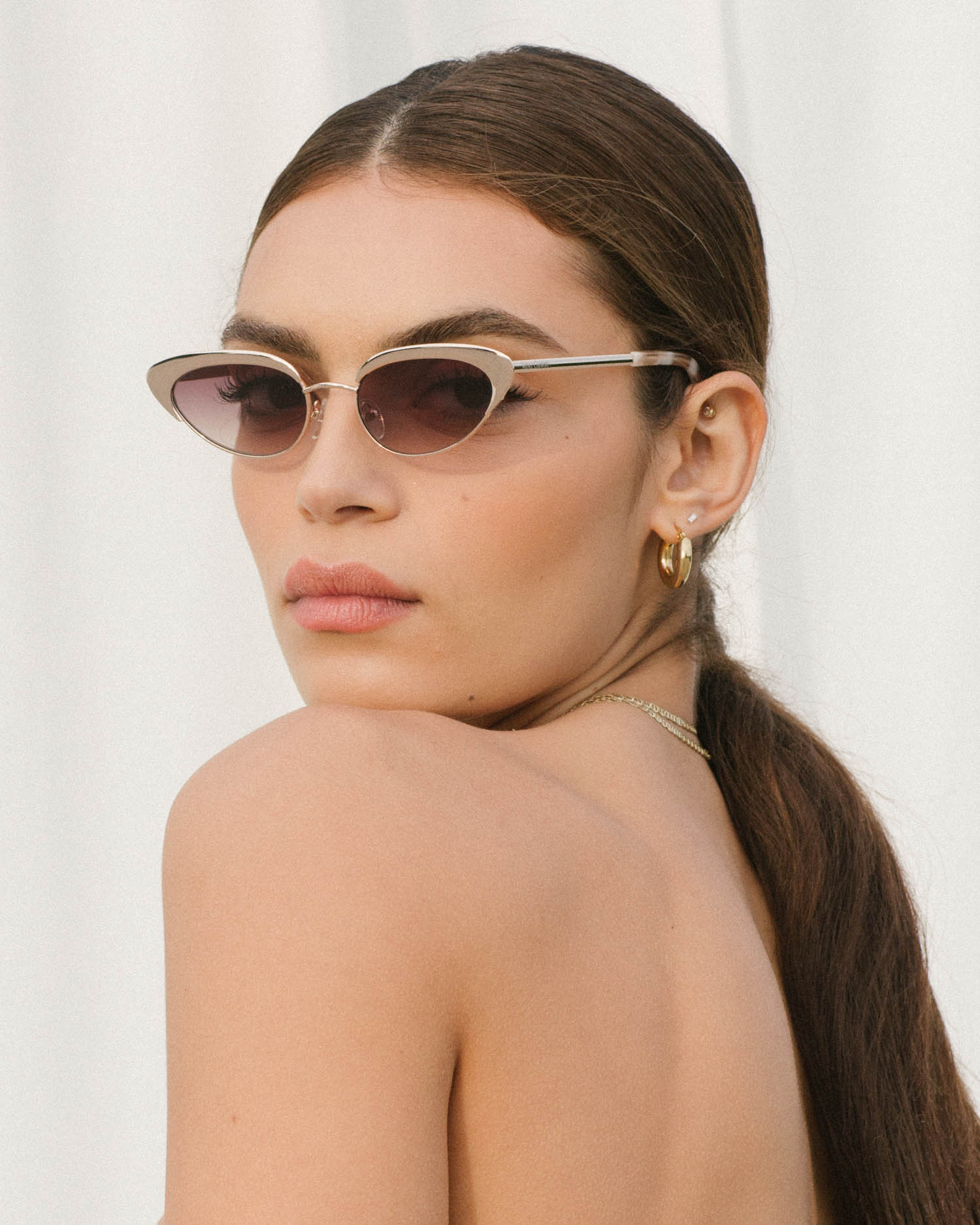Velvet Canyon Casa Gold Sunglasses vintage 40s 50s 60s 70s inspired sunnies cat eye modern small petite wire metal frame