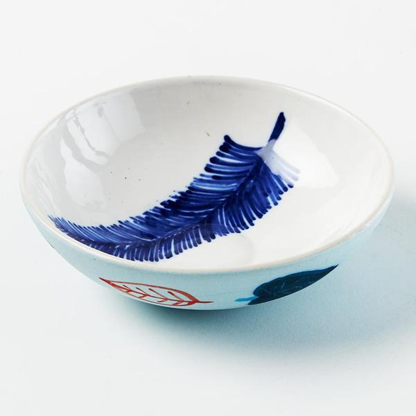 Ceramic Blue Feather Bowl