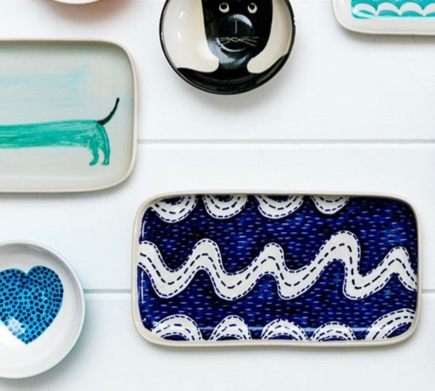 Ceramic Blue Squiggle Tray