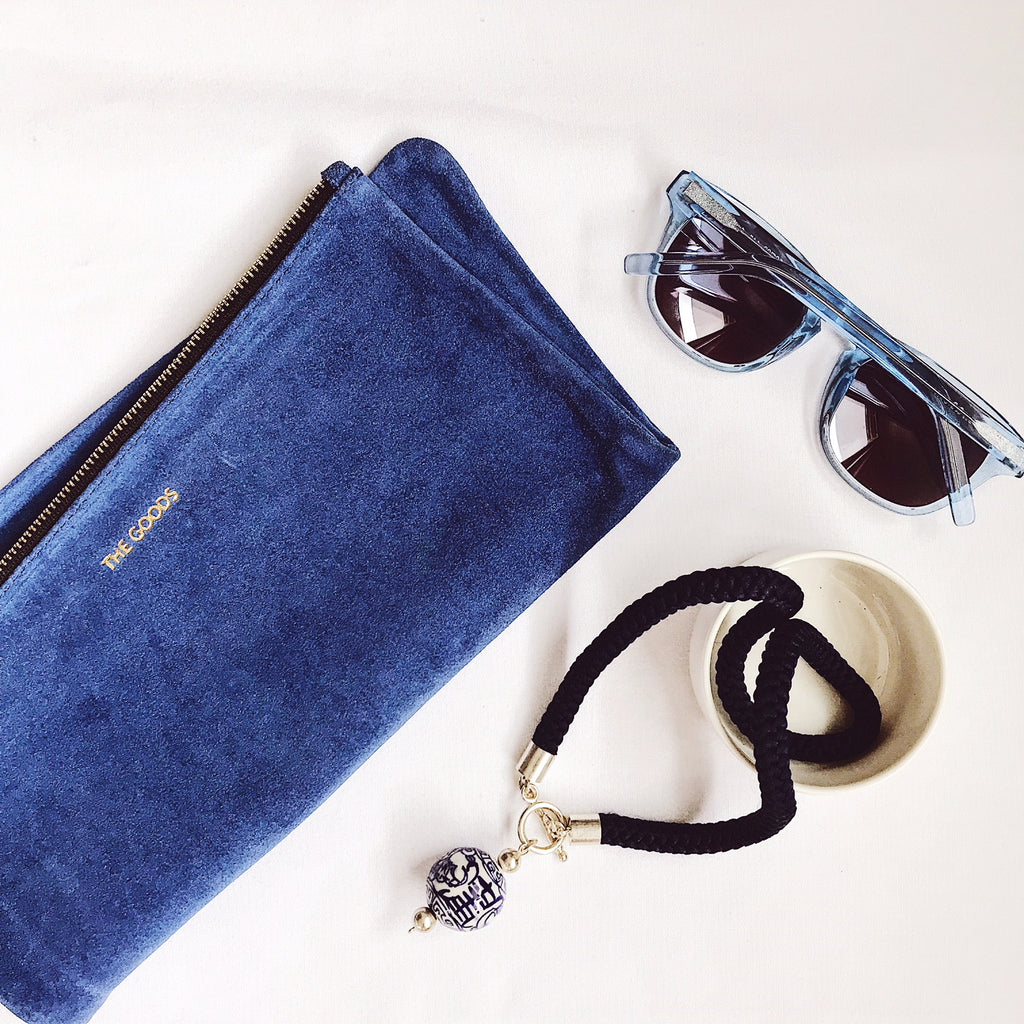 Limoges Blue Suede Fold Over Clutch