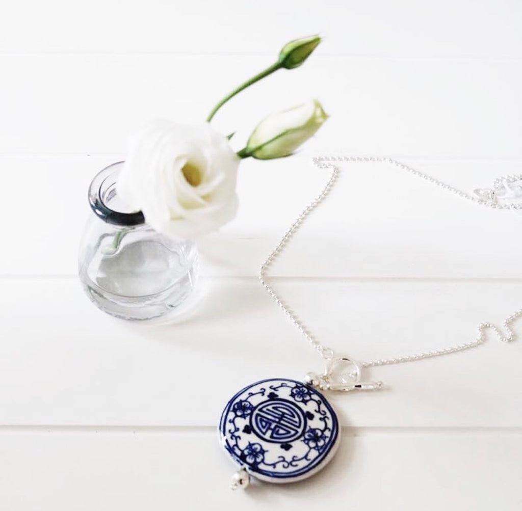 Navy and White Medallion Necklace