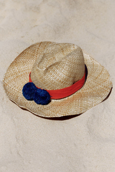 Panama Hat with Navy Pom Pom