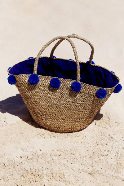 Sally Pom Pom Basket - Blue
