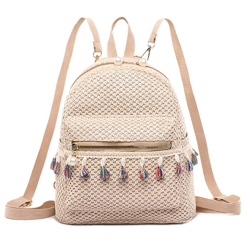 Eliana Straw Weave Tassel Backpack
