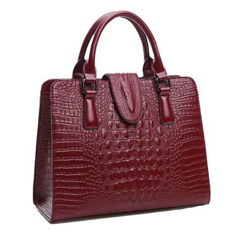 Crocodile Pattern Messenger Handbag