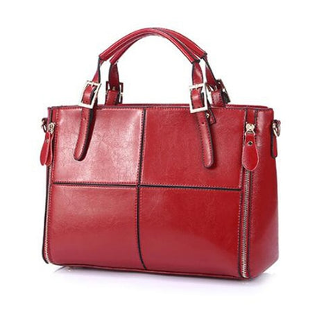 Patchwork cattle split leather bag