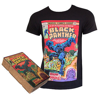 100% cotton unisex Black Panther T-shirt with comic graphics from www.StraightOuttaWakanda.com