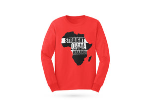 Motherland Long Sleeve T-shirt in black, gray and red from www.StraightOuttaWakanda.com