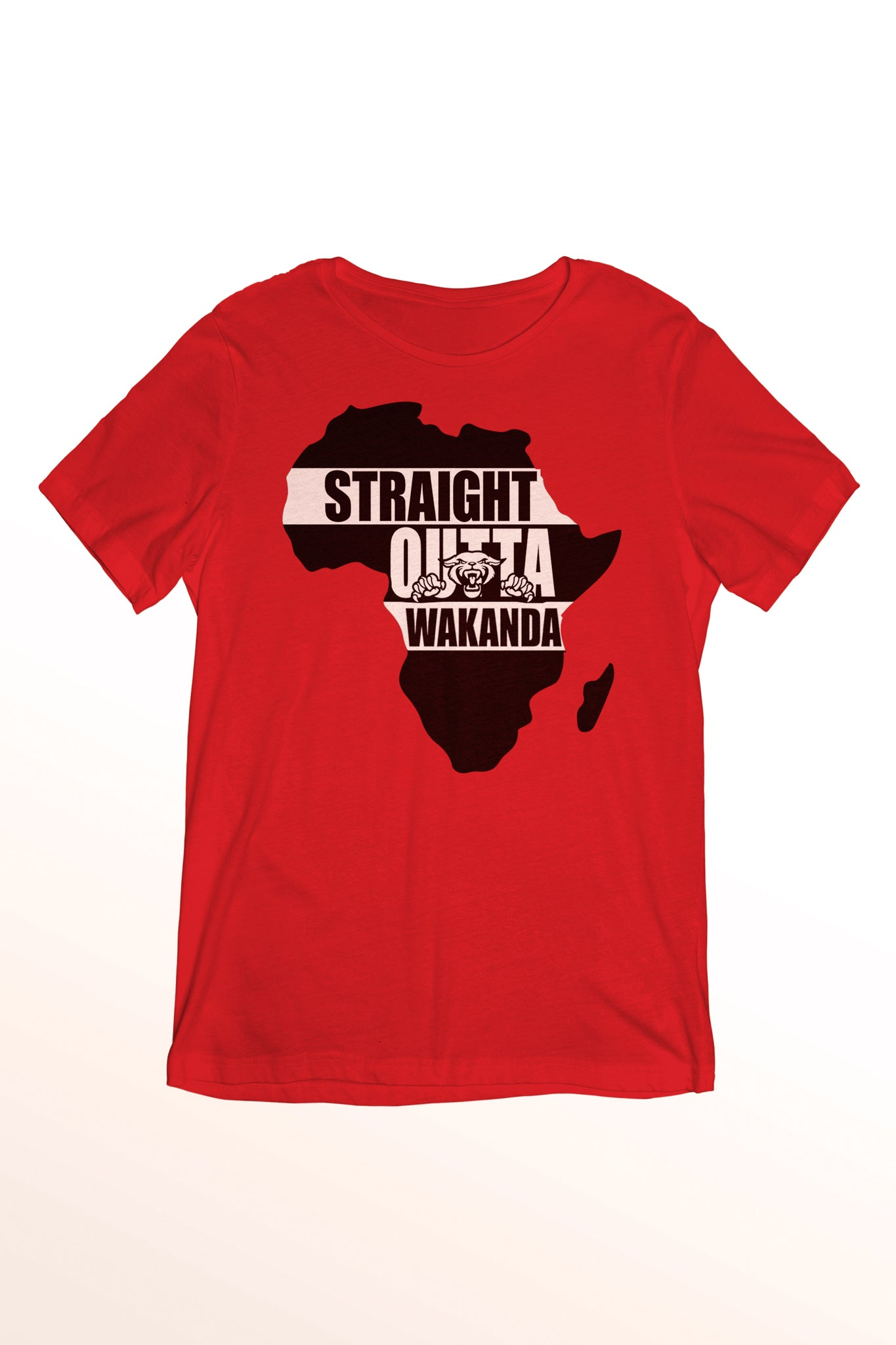 Motherland Short Sleeve T-shirt 100% cotton in black, gray, and red from www.StraightOuttaWakanda.com