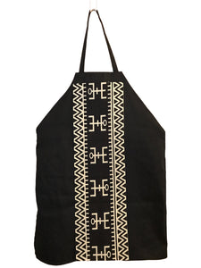 Black Panther inspired black denim apron w/ Black & White Tribal graphic top pocket and center stripe