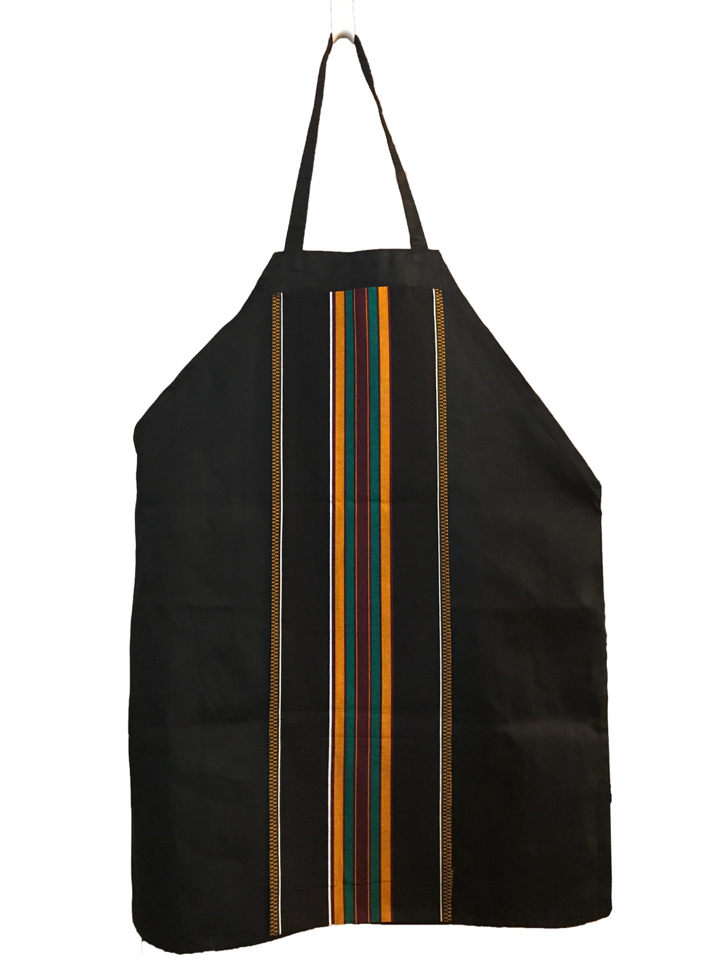 Black Panther inspired black denim apron w/ Kente cloth top pocket and center stripe adornment
