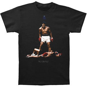 The Greatest Of All Time Muhammad Ali on this black, 100% cotton unisex T-shirt from www.StraightOuttaWakanda.com