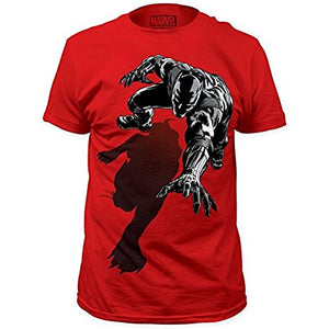 100% cotton red and black Prowling Black Panther T-shirt from www.StraightOuttaWakanda.com