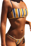 Womens Stripe Back Braided Straps Tank Top Strappy Lace Up Bikini Sets