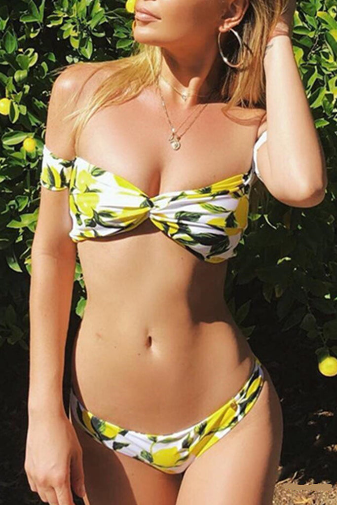 8d7be1f07c5 Iyasson Lemon Printing Off-the-shoulder Design Bikini Sets