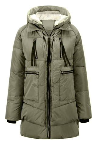 Women's Thickened Down Jacket - Army Green