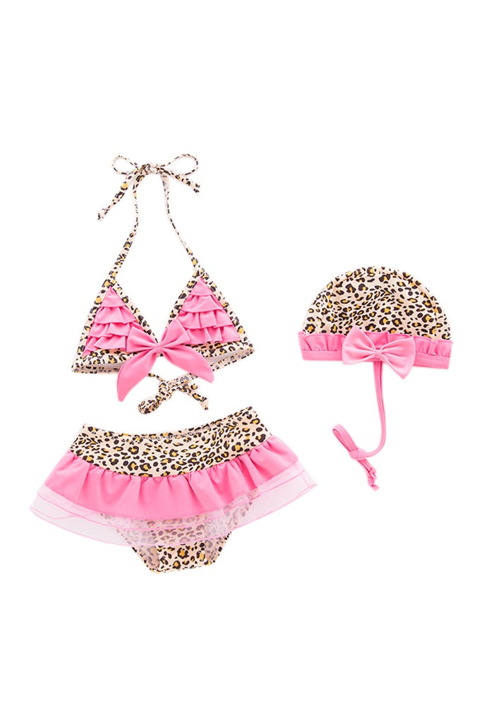 Iyasson Leopard Printing Triangle Top Baby Girl Bikini Sets