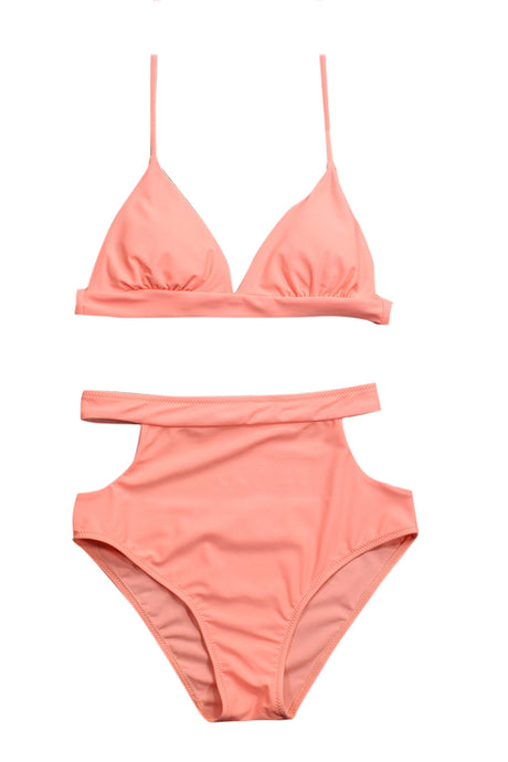 Iyasson Pink Triangle Bikini Top and High-waisted Bikini Bottom
