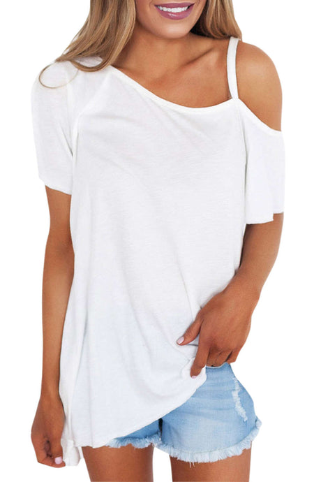 Iyasson Women Sexy Short Sleeve Asymmetric Shoulder T-shirt