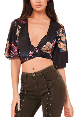 Iyasson Floral Printing Women Bandages Wrapped Crop Top