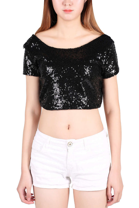Iyasson Women's Glitter Sequins Short Sleeve Crop Top