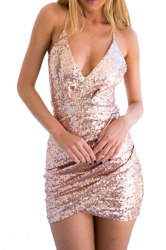 Iyasson Women's Deep V-Neck Sequined Spaghetti Bodycon Strap Dress