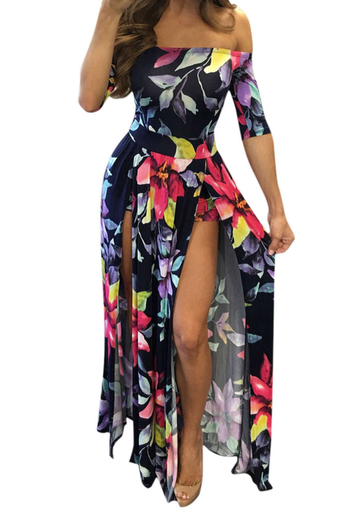 Iyasson Women Sexy Off Shoulder Floral Plus Size Maxi Dress
