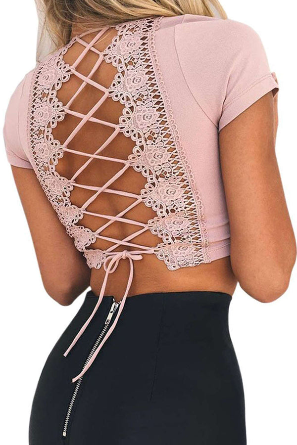 Iyasson Deep V-neck Lace Bandage Crop Top