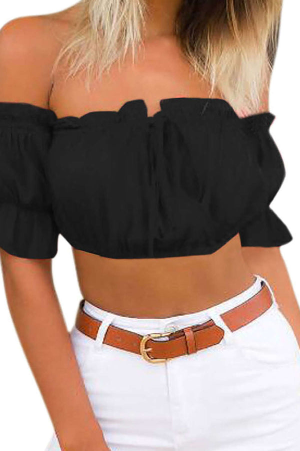 Iyasson Sexy Puff Sleeve Ruffles Crop Tops